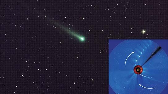 11월 8일 NASA가 촬영한 아이손의 모습(큰 사진). 11월 29일 근일점을 통과하는 아이손을 연속 촬영한 사진을 보면 핵이 소멸되고 부채꼴 형태의 꼬리만 남았다(작은 사진).