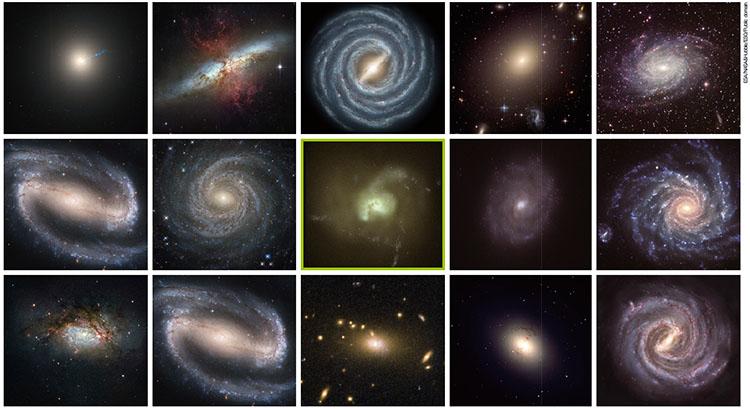 다양한 은하. 품고 있는 별의 온도에 따라 색이 다르다. 가운데 초록색 은하 사진은 영국 더럼대 연구진이 초록색 은하가 드문 이유를 연구하는 과정에서 나온 시뮬레이션 이미지다.