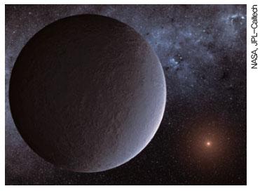 붉은 빛을 내는 작고 차가운 별 주위를 공전하는 지구 질량 외계행성의 상상도