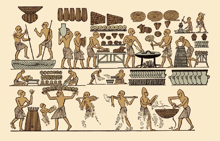 고대 이집트 제20왕조의 파라오인 람세스 3세가 잠든 묘에서 나온 벽화. 당시 사람들이 빵을 만들던 과정이 세세히 그려져 있다. 위아래 그림은 각각 이승과 저승을 동시에 뜻한다. 당시 사후세계에 갈 때도 빵을 중요하게 생각했다.