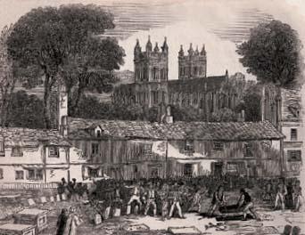 1832년 런던 남쪽 엑스터 지역에 퍼진 콜레라의 참상을 묘사한 그림. 콜레라로 죽은 사람들이 묻힌 묘지에 성난 군중들이 몰려왔다.