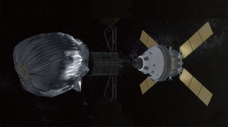 NASA에서는 2020년경 지름 10m 이하의 근지구소행성을 포획하는 계획을 세우고 있다. 그림 오른쪽은 포획한 소행성을 연구하기 위해 NASA에서 개발하고 있는 유인우주선 '오리온' 호.