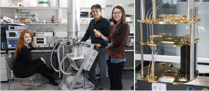 액시온 검출기 개발을 위해 실험 중인 연구원들. 왼쪽부터 도미니카 코니코프스카, 정우현, 김영임 연구위원. 오른쪽은 검출기가 들어가는 냉각기 내부.