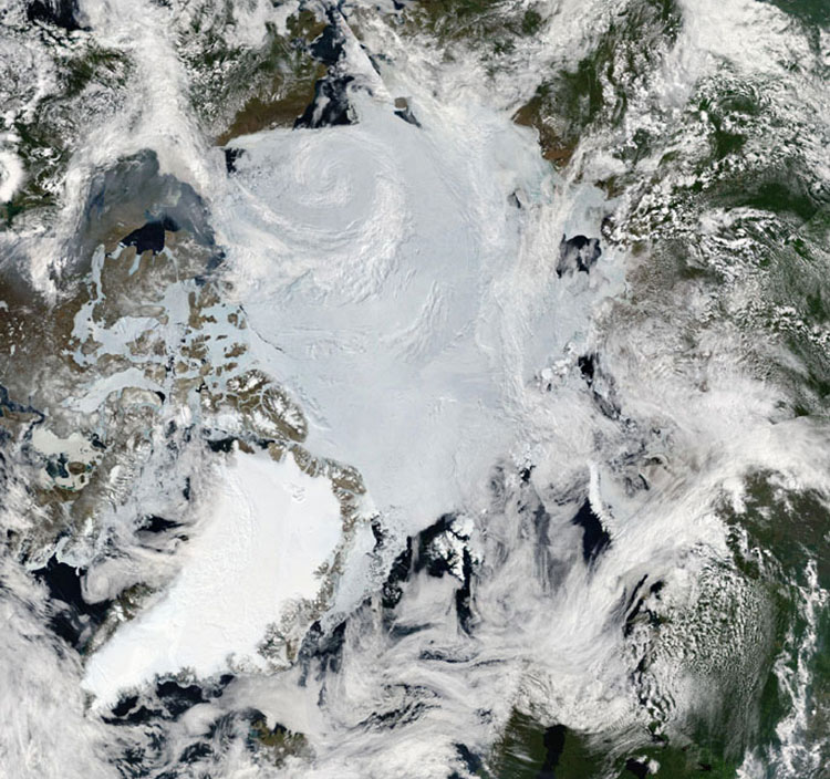 인공위성으로 본 북극해. 온통 얼음으로 뒤덮인 탓에 해저 연구는 거의 이뤄지지 않았다.