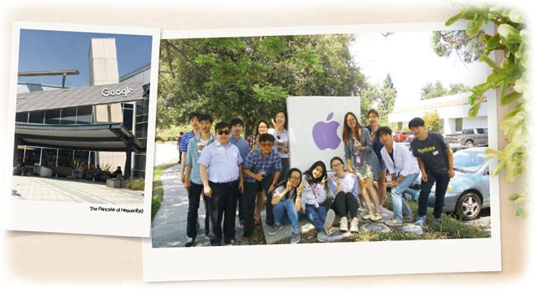 구글 본사에 있는 식당의 전경(왼쪽)과 여름학기 수업을 미국 UC버클리에서 듣는 GIST 학생들이 애플 본사를 방문해서 찍은 사진.