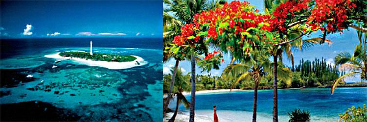 수도 누메아 근처에 있는 아메데 섬의 등대.(왼) 마레 섬의 와바오 해변 모습. 그림처럼 아름답다.(오른)