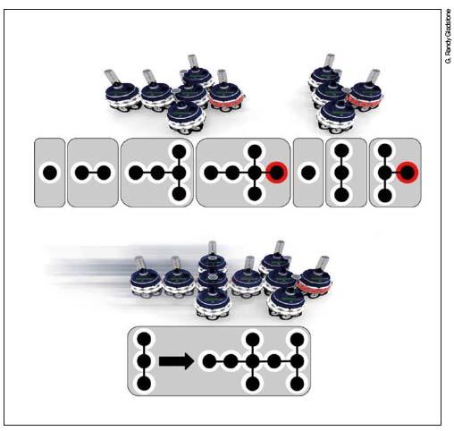 인간의 신경계를 모방한 '모듈러 로봇'. 모듈이 서로 붙거나 떨어지면서 다양한 형태를 만든다. 이 특성을 활용해 자가치유할 수 있다.