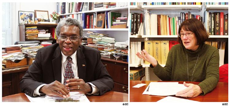 롤랜드 오웬스 미국 국립보건원(NIH) 내부 연구 프로그램 부원장(왼쪽)과 신시아 매시슨 NIH 국립암연구소(NCI) 연구본부 평가지원팀 박사(오른쪽).