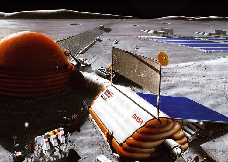 미국이 건설을 검토 중인 달 우주기지의 상상도. 심(深)우주를 탐사하기 위해 2020년대에는 달 부근에서, 2030년대에는 달을 떠나 화성궤도에서 연구를 펼친다는 계획이다.