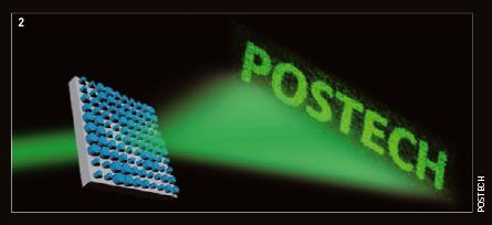 노준석 POSTECH 교수팀이 메타표면으로 만든 홀로그램. POSTECH 글자는 가로 20cm,세로 10cm가량의 실제 이미지다.