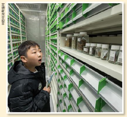 시드볼트 내부를 보고 있는 김이현 기자.