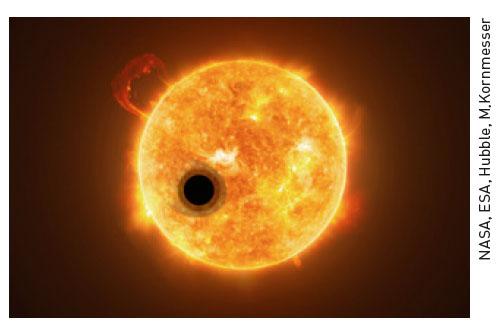 외계행성 WASP-107b의 상상도. 표면 온도는 약 500도로 목성과 크기가 비슷하지만, 질량은 약 12% 더 크다.