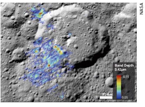 유기분자 신호가 포착된 왜소행성 '세레스'의 에르누테트 크레이터.