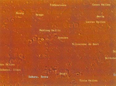 한국말로 지은 화성 금성 지명