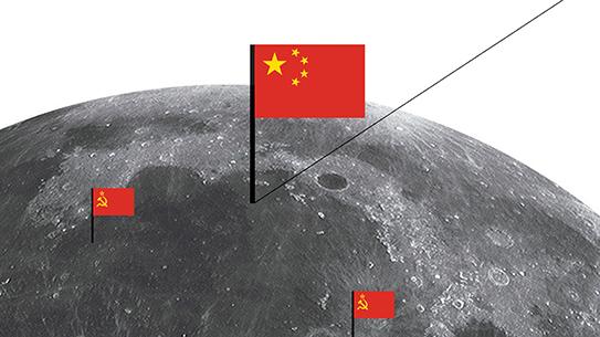 옥토끼, 달에 중국 국기를 꽂다