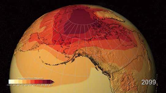 지구가 점점 더워진다! 2099년 온난화 지도